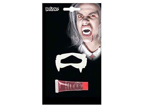 Set de vampire: Dents en plastique + Faux sang artificiel en tube de 11 ml pour adultes et ados (45162) Idéal pour compléter votre déguisement de vampire etc Accessoire authentique pour vos fêtes