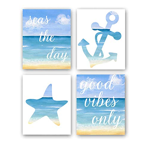 """Watercolor Blue Ocean Beach Art Print Inspirational Quote Art Painting Set of 4 (8""""X10"""" Canvas Picture),Motivational Phrases Wall Art Poster for Bedroom or office, No Frame"""