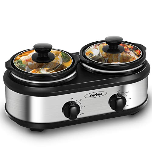 Dual Pot Slow Cooker Buffet Server 2 Pot Small Mini Crock Food Warmer, 2-Section 1.25-Quart Oval Slow Cooker Buffet Food Warmer Adjustable Temp Lid Rests Stainless Steel