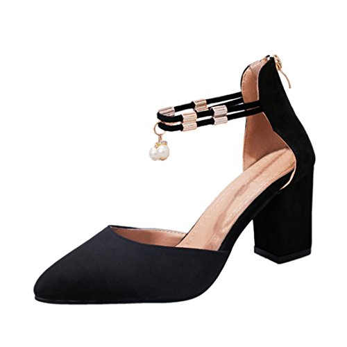 FNKDOR Damen Strass Pumps Frauen Schuhe Knöchelriemen Sandalen D'Orsay Spitze Abendschuhe (39, Schwarz)