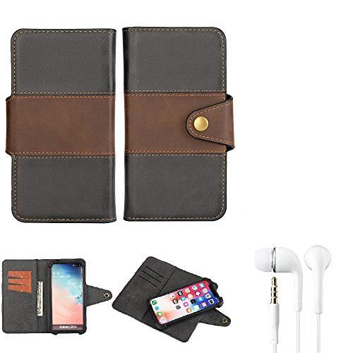 K-S-Trade Handy-Hülle Schutz-Hülle Bookstyle Wallet-Hülle Kompatibel Mit BlackBerry Key 2 LE Dual-SIM + Earphones Bumper R&umschutz Schwarz-braun 1x