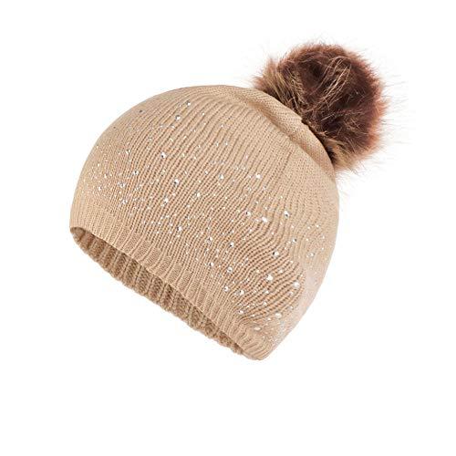 GUANGYING Frauen Stricken Wolle Saum Mütze Strass Warm Halten Winter Hairball Cap...