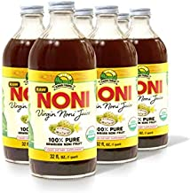 Virgin Noni Juice - RAW (Unpasteurized) 100% Pure Organic Hawaiian Noni Juice - 4 Pack of 32oz Glass Bottles
