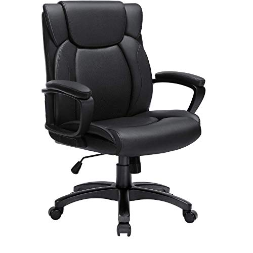BOSSIN Mid-Back Executive Office Chair Leather Computer Desk Chair with Armrest,Swivel Ergonomic Task Chair with Lumbar Support,Thick Padded Rolling Chair for Adults(Mid-Back, Black-1)