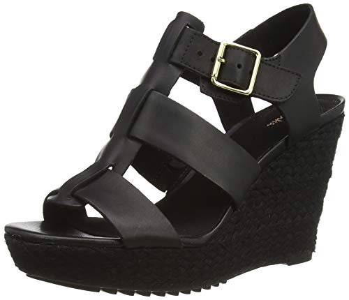Clarks Maritsa95 Glad, Sandali con Cinturino alla Caviglia Donna, Nero (Black Leather Black Leather), 39.5 EU