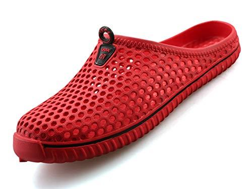 Zapatillas de Jardín Hombre Mujere Zuecos De Playa Transpirables Zapatillas de Casa en Verano Rojo 39