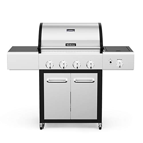 RINKMO Gas Grill PG-40407S0L S, 2021 Upgrade 670 sq inch 4 Burner 36,000 BTU-per-Hour Input Stainless Steel Liquid Propane Grill, Movable BBQ Grills with Side Burner, Cart Style Grills Propane