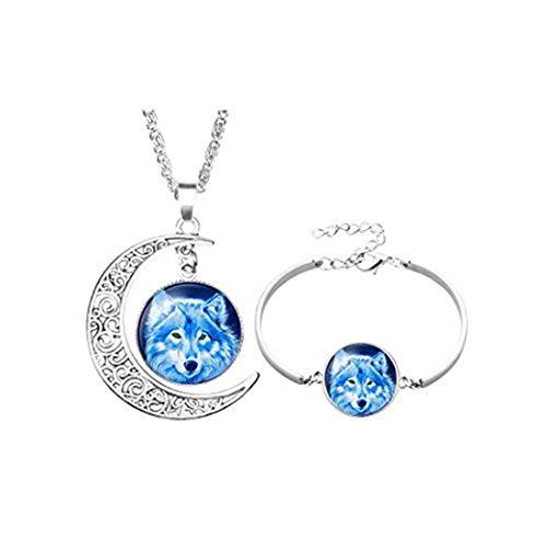 Youkeshan Conjunto de joyería de moda plateado aullando lobo luna cristal cabujón pulsera collar...