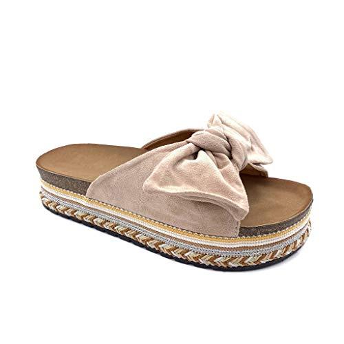 Angkorly - Zapatillas Moda Mules Sandalias Folk/Etnico Plataforma comode Mujer Nodo Trenzado tacón Plano 4 CM