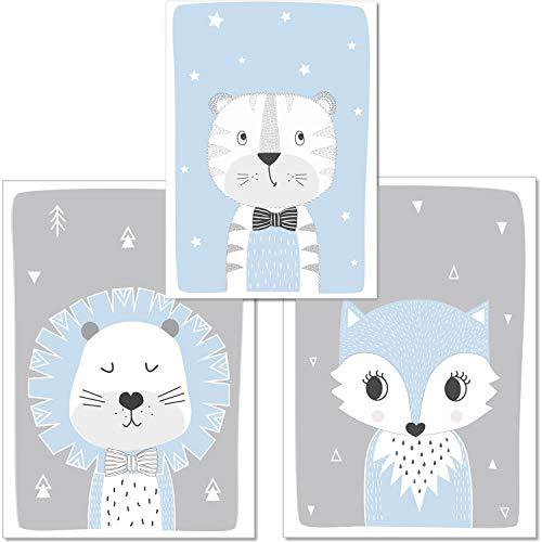 artpin® 3er Set Poster Kinderzimmer Skandinavische Deko - A4 Bilder Babyzimmer blau grau- Deko Junge (P48)