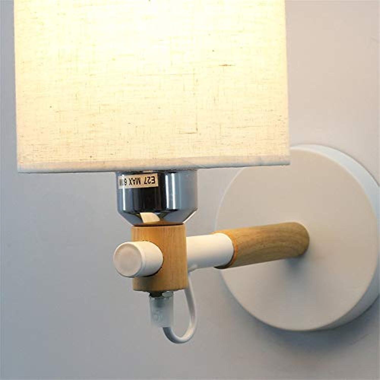 Wall Light Home Wandleuchte Nordic Minimalistischer amerikanischer Stil Original Stoffstudiengang (Farbe   Weiß)