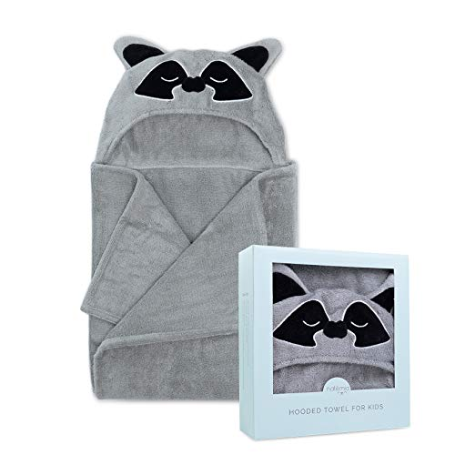 Natemia Extra Soft Rayon from Bamboo Hooded Towel for Kids | Highly Absorbent and Hypoallergenic | 40' X 30' Large Animal Face Baby Bath Towel with Hood | Great Baby Shower  Registry Gift