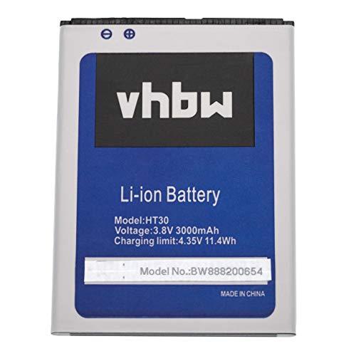 vhbw batteria compatibile con HomTom HT30, HT30 Pro smartphone cellulare (3000mAh, 3,8V, Li-Ion)