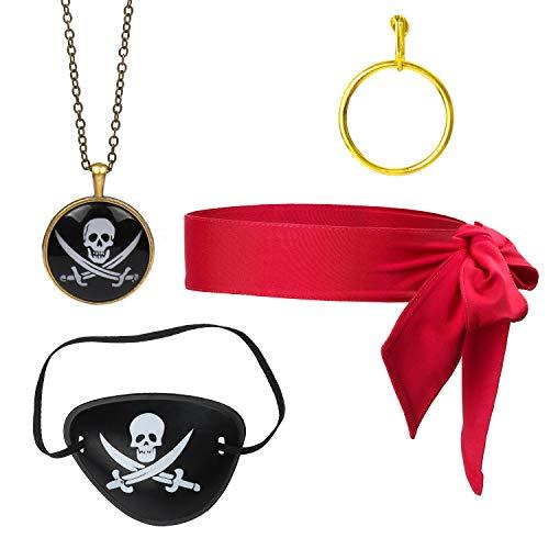 Beelittle 4-delige kapitein piraat kostuum accessoire set rood hoofd stropdas sjaal wrap bandana piraat ooglapje gouden oorbel ketting piraat accessoires kit (D)