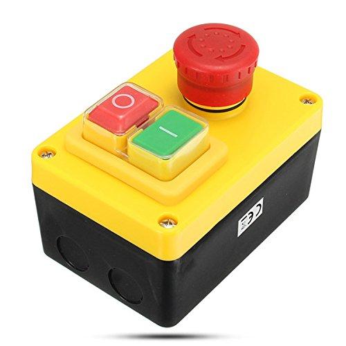 Hitommy 230 V 19 A NVR Motor Stop Start und Not-Stop Schalter 5 Pins für Drehmaschine Bohrmaschine
