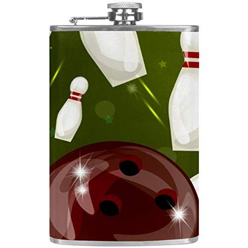 Bennigiry Herren-Flachmann mit roter Bowlingkugel, auslaufsicher, Edelstahl