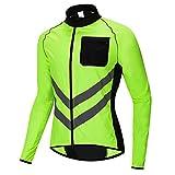 Maillot Bicicleta Hombre,Maillot Ciclismo,con Mangas Largas con Bolsillos,Jersey Bicicleta MTB Ciclista para(Color:Verde,Size:XXXL)