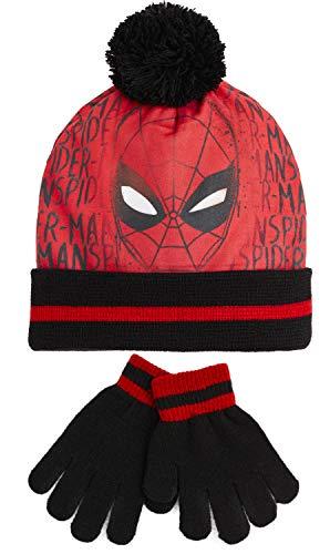 Marvel Conjunto de Gorro Invierno y Guantes Spiderman Avengers Para Niño, Set de 2 Piezas Talla Única, Merchandising Oficial Accesorios, Regalos Para Niños (Spider-man)