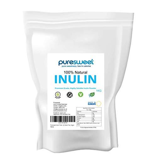 Puresweet Poudre de fibres prébiotiques de haute qualité Inuline 1 kg - Non OGMO, qualité supérieure, hautement soluble, fabriqué en UE, Fructo Oligosaccharide (FOS), sans gluten, végétalien.