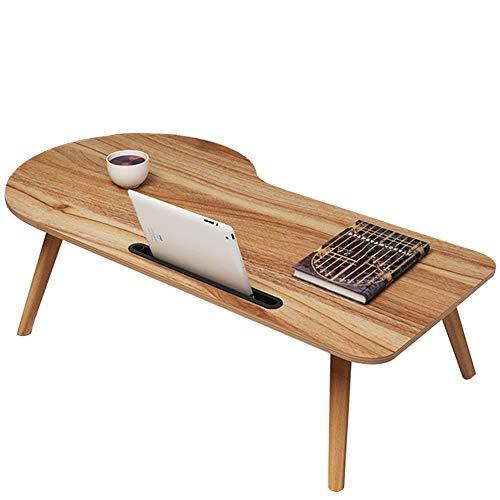 Tables HAIZHEN Pliable Bureau d'ordinateur Portable, présentoir de lit en Bois Solide Pliable avec la d'appoint de Fente pour Carte (Couleur : B, Taille : 100 * 55 * 33CM)