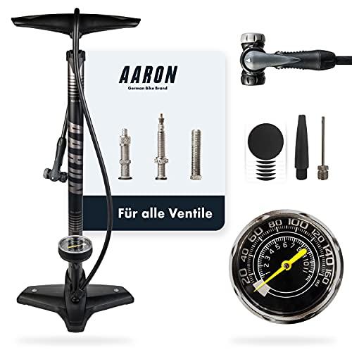AARON Sport One Fahrrad Standpumpe mit Manometer für alle Ventile, Hochdruck Fahrradpumpe Rennrad, Luftpumpe, Pumpe mit Ball Aufsatz (Grau)