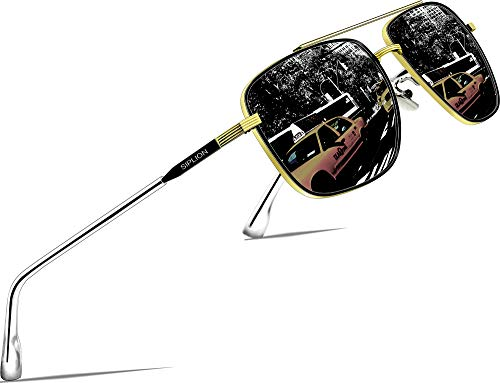 SIPLION Hombre Gafas de sol Polarizado Al-Mg Metal Super Ligero Marco 6055-BLACK-GOLD