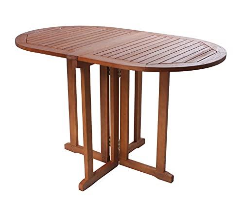 Gartentisch oval aus Eukalyptus Holz - 120x70x73 cm - Klappbarer Holz Biergarten Bistrotisch Klapptisch Balkon Tisch geölt
