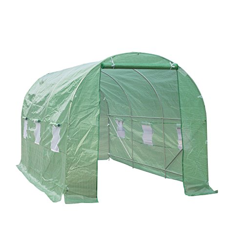 Outsunny Invernadero de Jardín para Cultivo de Plantas Tunel Invernadero Huerto Color Verde Acero Polietileno PE 450 x 200 x 200cm