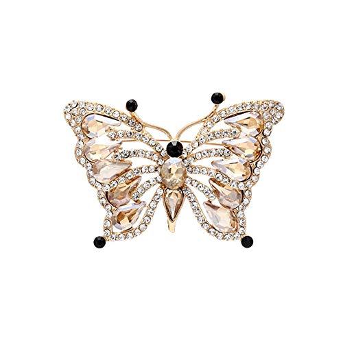 TXX Aleación Pin Joyería Champagne Mujeres Mujer Mariposa Forma Rhinestones Broche Elegante