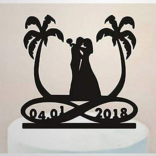 Fun Wedding Cake Topper Beach Palm Tree Bride Tree Infinity Symbol With Date Wedding Personalized Name Wedding Gift For Party Cake Topper