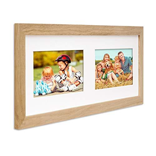 PHOTOLINI Fotocollage-Bilderrahmen Modern Eiche aus Massivholz Collagerahmen Bildergalerie-Rahmen für 2 Bilder 10x15 cm Wechselrahmen mit Passepartout