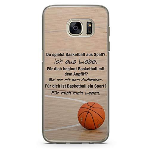 Basketball Liebe - Hülle für Samsung Galaxy S7 Edge - Motiv Design Sprüche Sport - Cover Hardcase Handyhülle Schutzhülle Case Schale