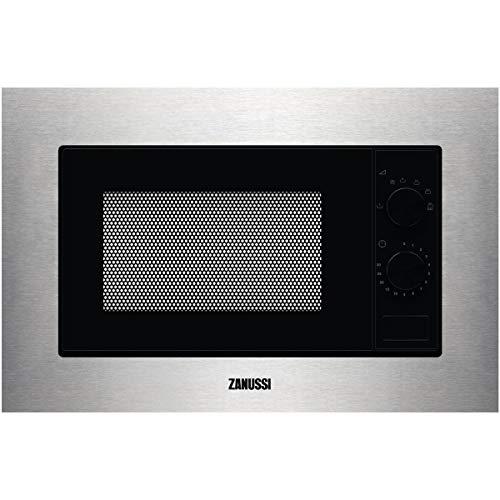 Zanussi ZMSN5SX Micro-ondes intégré de 700 W, 6 niveaux de puissance, commande rotative, programme de décongélation rapide, bouton d'ouverture, cadre intégré, noir/inox, 17 l