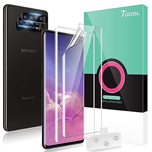 TOCOL 4 Stück Schutzfolie kompatibel mit Samsung Galaxy S10 Plus TPU Folie 2 Stück, Kamera Panzerglas 2 Stück, Unterstützt Blitzaufnahmen und Fingerabdruck-ID Blasenfrei