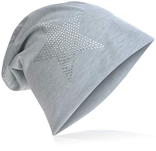 StrassStern Jersey Slouch Beanie Long Mütze Stern mit Strass Applikation Unisex Unifarbe Herren Damen Trend Hellgrau