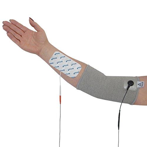 Codera para electroestimulation TENS EMS - + 4 electrodos - Dolor en codo o artrosis- Para electroestimuladores con conexión de clavija 2mm- Calidad axion