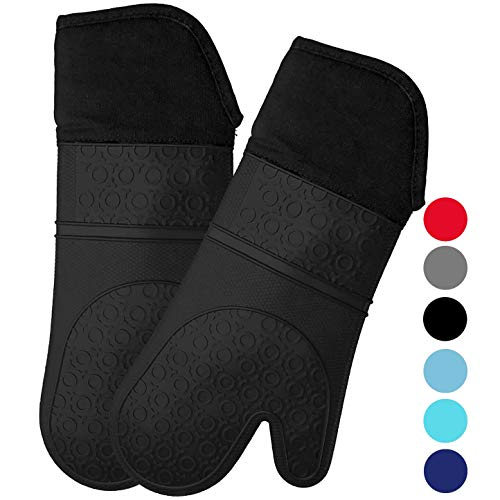 Mejor HOMWE Extra Long Professional Silicone Oven Mitt, Oven Mitts with Quilted Liner, Heat Resistant Pot Holders, Flexible Oven Gloves, Black, 1 Pair, 14.7 Inch crítica 2020