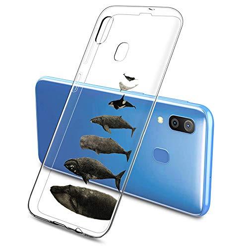 Suhctup Case Compatible con Samsung Galaxy A6 Plus/A9 Star Lite Funda Transparente Suave Silicona TPU Bumper Cárcasa Dibujos Animales Diseño Ultra Delgada Antigolpes de Protector Piel Cover,Tiburones