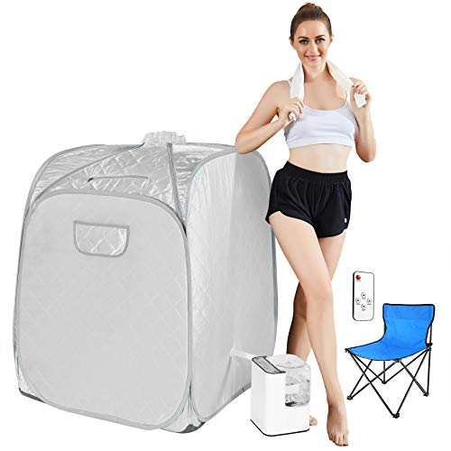 Mauccau Portable Sauna for Home, Personal Steam Sauna Spa for Weight Loss Detox Relaxation, 2.5L Sauna Tent with Foldable Chair Timer Remote Control