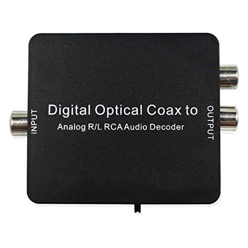D2A Decoder Digital coassiale a ottico SPDIF Toslink convertitore Supporta PCM, 5.1 Dolby Digital/DTS con connettore audio da 3,5 mm per cuffie TV Nero 1080P