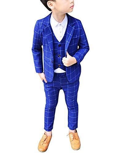 Jungen Anzüge Kinder Schlanke Passform Klassisches Kariertes Anzug-Set Mit Jacke Weste Und Hosen Blau 120