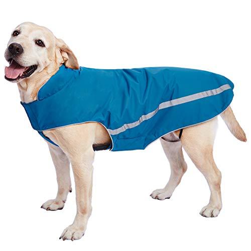 Cappotto per Cani Impermeabile Giacche Calde, Cappotto per Cani Riflettente con Foro per Imbracatura Regolabili Abiti Invernali Morbidi Foderato in Pile per Cani di Taglia Media Blu 4XL