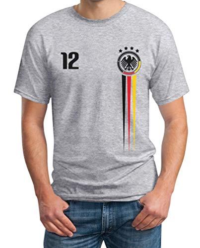 Deutschland Trikot EM Fanartikel 2020 - Fan Nationaltrikot EM Shirt T-Shirt XXL Grau