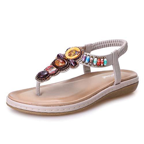 Scarpe Donna Eleganti Sandali Piatti Infradito Donna Scarpe Comode Estivi da Spiaggia 2020 Tacco Bassi Sandali Casual Strass Anti Scivolo