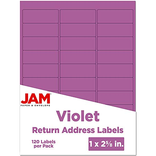 JAM PAPER Return Address Labels - Standard Mailing - 1 x 2 5/8 - Violet - 120 Shipping Labels/Pack