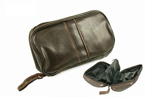 Borsa Custodia da pipa in vera pelle, per 2 pipe, pressino, filtro, pulitore, preserva la freschezza (Modello 2)