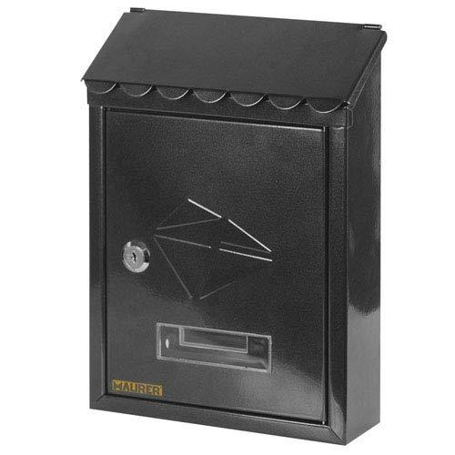 MAURER Cassetta postale in acciaio verniciato nero con tetto