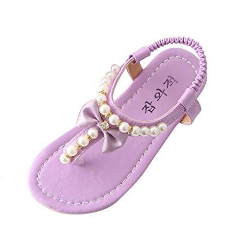 YWLINK Sandalias La Moda Plano Zapatos De Verano De Comercio Exterior con Cuentas Lindas con Arco Princesa Zapatos Dulce Clip Toe Sandalias Zapatos Dulce Y Encantadora Fiesta NiñA Chanclas