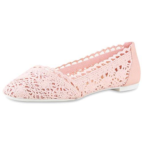 SCARPE VITA Klassische Bequeme Damen Ballerinas Spitze Flats Häkeloptik 160340 Rosa Spitze 39