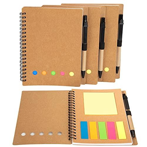 Cuadernos en Espiral Kraft Papel con Bolígrafo y Notas Adhesivas y Marcadores de Página de Índice...